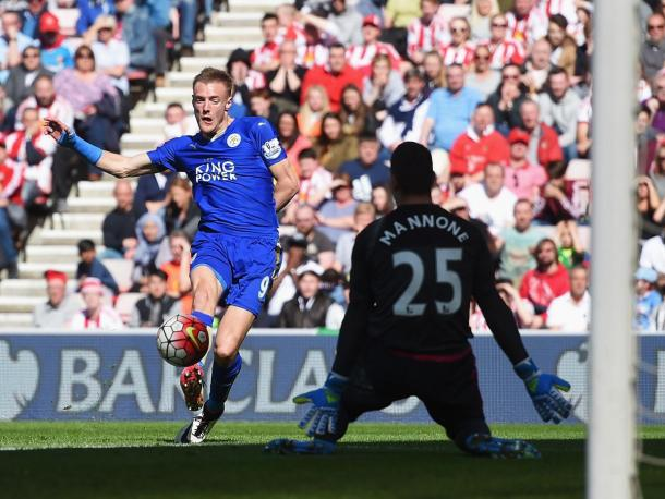 Jamie Vardy ended his recent drought by netting twice at the Stadium of Light | Photo: Getty