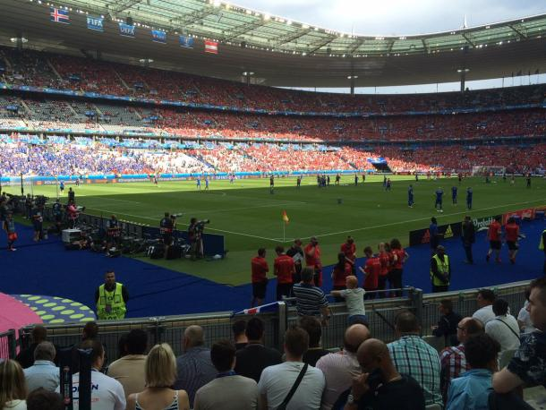 The scene at the Stade de France, as both sets of fans enter the stadium.