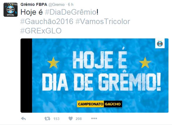 Grêmio já divulga confronto em suas redes sociais (Foto: Reprodução/ Twitter Grêmio)