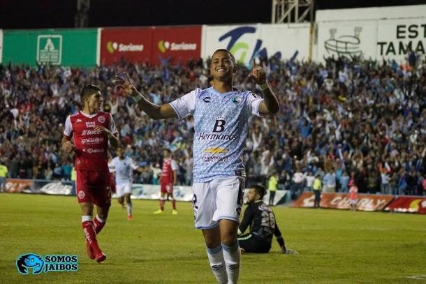 Jhoao Rodríguez festejando un gol ante Mineros en Cuartos de Final | Foto: Somos Jaibos