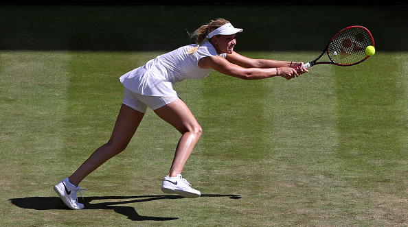 The Croat's serving was big and she was unable to beat Konta again on grass (Photo by Adrian Dennis / Getty)