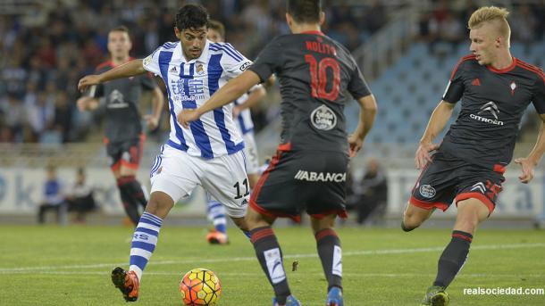 Carlos Vela, en el encuentro ante el Celta de Vigo, que se disputó en Anoeta.