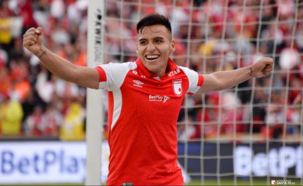 Jhon Velásquez, autor del tercer gol de la tarde para Santa Fe. Imagen: Independiente Santa Fe.