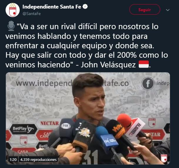 Declaraciones de Jhon Velásquez. Imagen: captura de pantalla @SantaFe