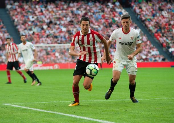 Mikel Vesga en el partido contra el Sevilla, donde fue protagonista con el tanto de la victoria I Foto: Athletic Club