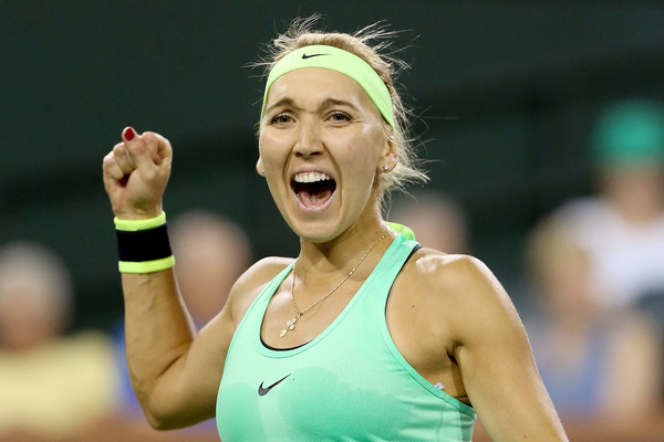 Vesnina couldn't hide her emotion after defeating Mladenovic in the semifinals (Photo by Matthew Stockman / Getty Images)
