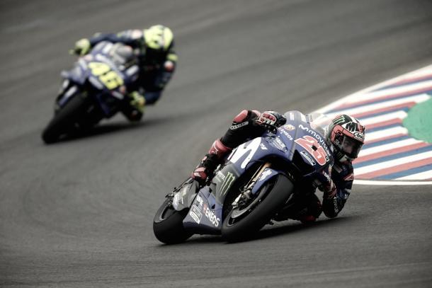 Viñales y Rossi en Le Mans. Foto: Movistar Yamaha