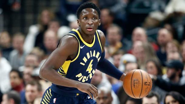 Victor Oladipo during a game with the Indiana Pacers. (Photo via: Getty Images)
