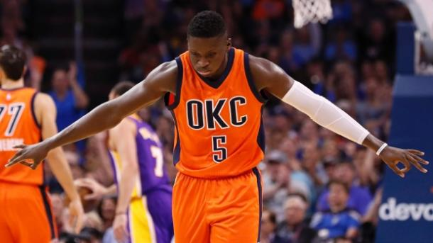 Victor Oladipo after making a 3 point shot with Oklahoma City in a game against the Lakers during the 2017 season.  (Photo: The Canadian Press)