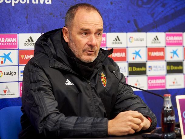 Víctor Fernández, en la rueda de prensa de este viernes   Imagen: Real Zaragoza
