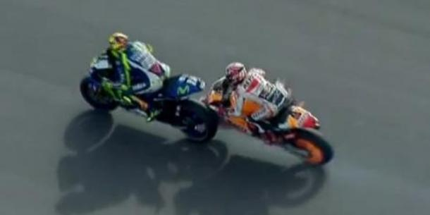 Rossi leads Marquez heading into the corner | Photo: GPM2