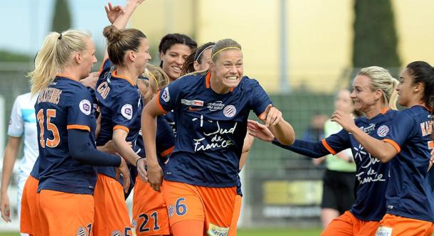 Montpellier celebrate a big win against Soyaux | Source: mhscfoot.com
