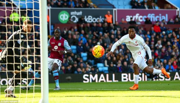 Daniel Sturridge scores the first of six Villa conceded against Liverpool (photo: Getty Images)