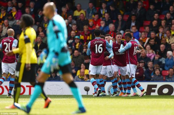 Villa celebrate their opening goal (photo: Getty Images)