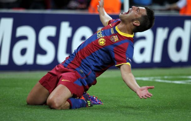 David Villa celebra un gol ante el Real Madrid en su etapa culé // Imagen: FC Barcelona