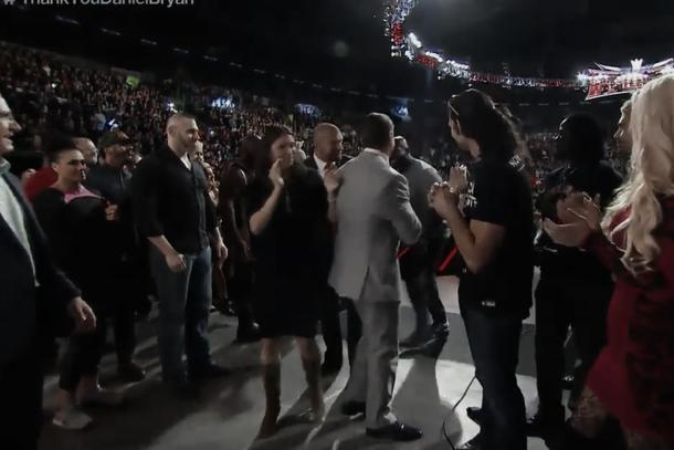 Vince McMahon pushes Titus after he pulled his arm (image: cagesideseats.com)