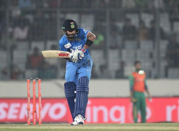 Virat Kohli during his match-winning knock of 49 against Pakistan in the Asia Cup | Photo: Getty Images