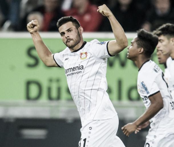 Volland anotó un doblete ante Düsseldorf   Foto: @bayer04_es
