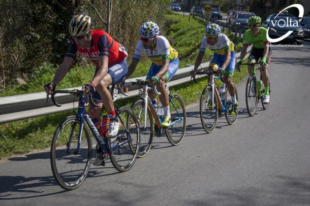 Nibali, Nazaret, Affonso y Rolland formaron la escapada del día | Foto: Volta a Catalunya