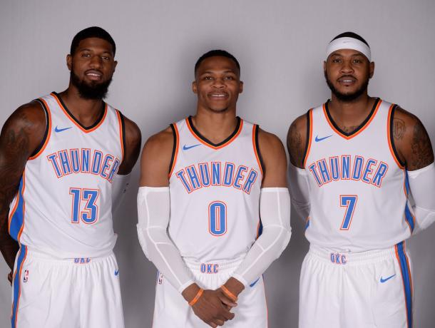 El nuevo 'Big Three' de los Thunder va a por todas.   Fotografía: Mark D. Smith / USA TODAY Sports