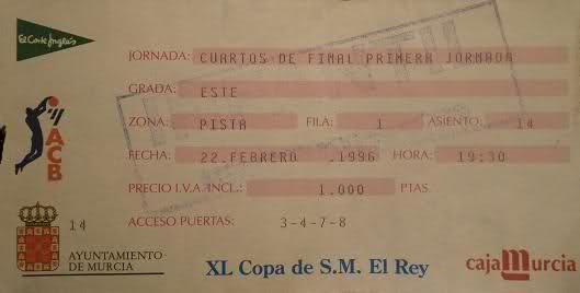 Entrada para los Cuartos de Final de la Copa del Rey de 1996 | Foto: basketme.com
