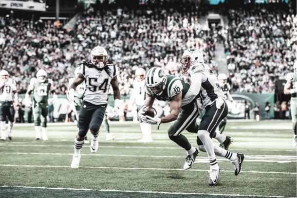 Jermaine Kearse se desquitó ante los Patriots con su primer touchdown del año | Foto: newyorkjets.com