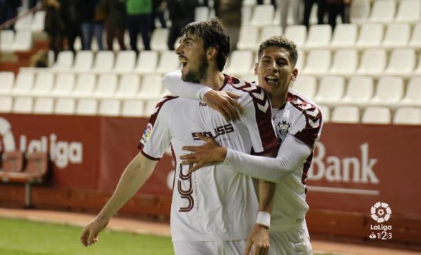 Los jugadores del Albacete celebran el gol. Foto: LaLiga 1|2|3