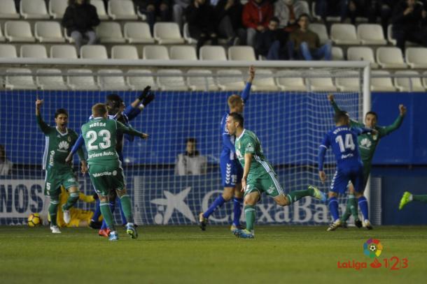 David Rocha celebra su gol de bolea. |Foto: laliga.es
