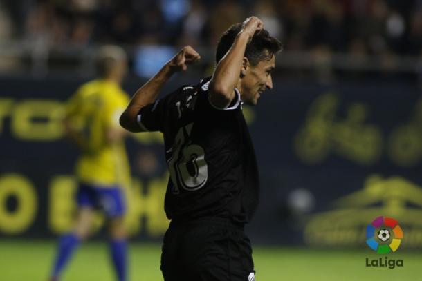 Jesús Navas celebrando el gol anotado en el Ramón de Carranza. Fotografía: LaLiga