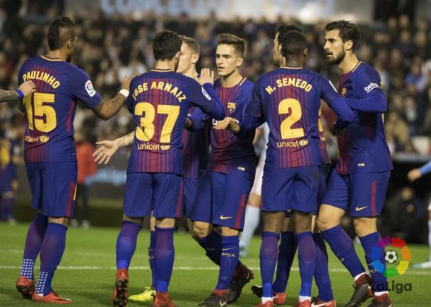 Celebración del primer tanto culé del 2018 / Fuente:LaLiga.es