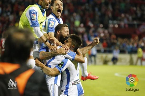 Celebración del gol de Insua que dio el ascenso al Leganés   Foto: LaLiga
