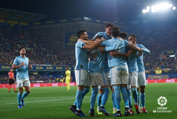 El Celta celebrando un gol frente al Villarreal   Foto: LaLiga Santander