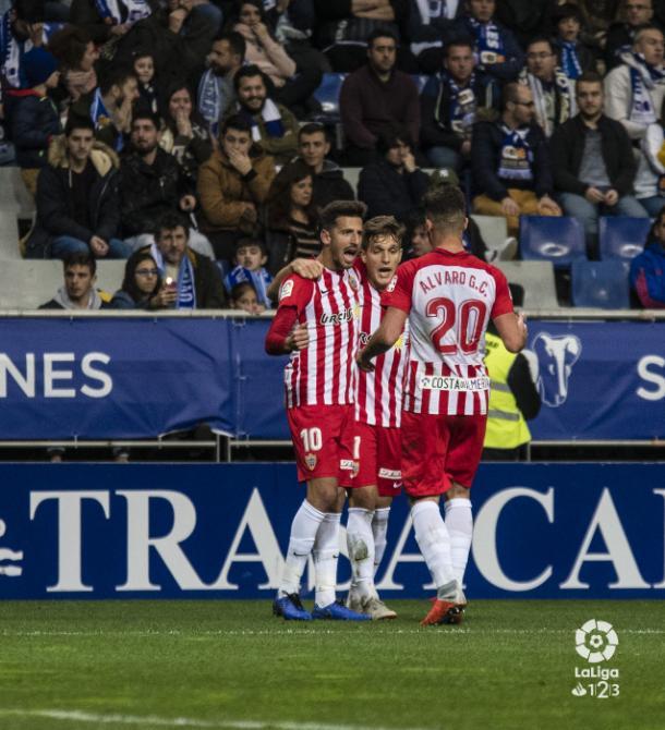 Juan Carlos, Corpas y Álvaro Giménez celebrando uno de los tantos del Almería | Fuente: La Liga