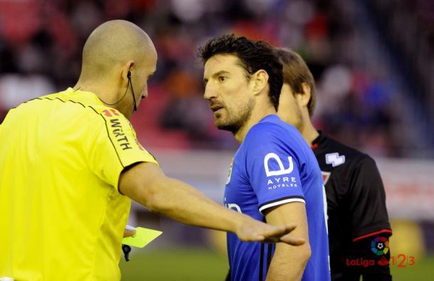 López Amaya con Toché en el partido de Soria | Foto: LaLiga