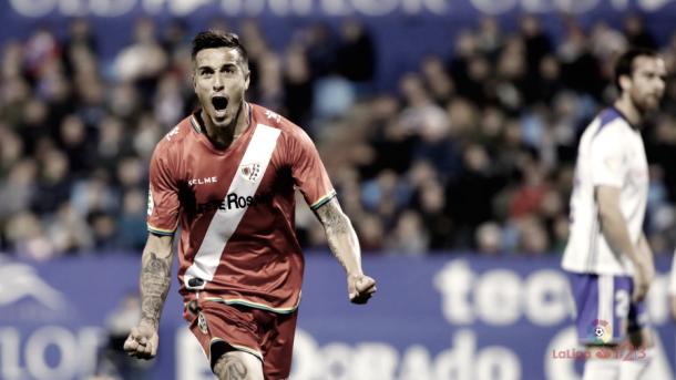Óscar Trjejo celebrando el segundo gol Rayo Vallecano | Imagen: www.laliga.es