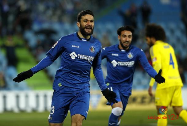 Jorge Molina celebra el primer gol anotado ante el Cádiz CF | Foto: LaLiga