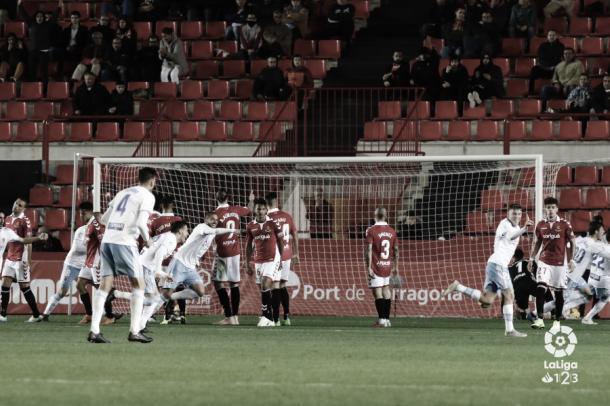 Pep Biel tras marcar frente al Nàstic | Foto: LaLiga