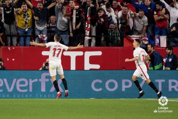 Sarabia al encajar el segundo gol del Sevilla | Fotografía: LaLiga Santander