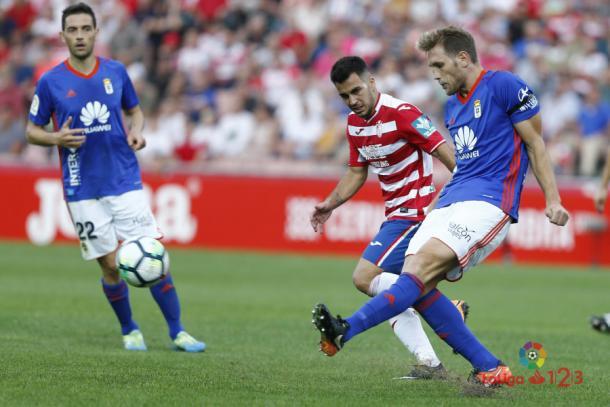 Joselu, ahora en el Oviedo, será una de las grandes ausencias | Imagen: LaLiga 1|2|3
