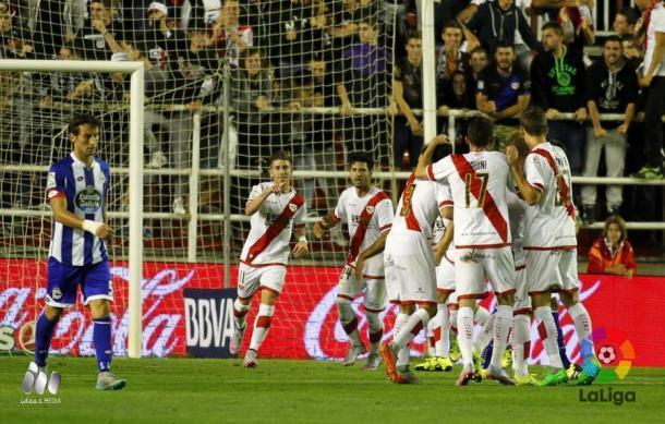 Embarba celebrando su gol   Fotografía: La Liga