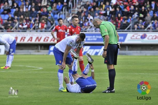 López Amaya durante el polémico Numancia - Real Zaragoza | Foto: LaLiga