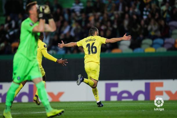 Pedraza celebrando el gol | La Liga Santander
