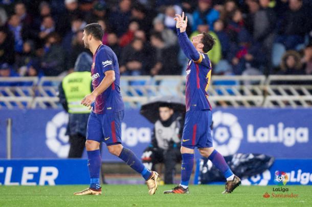 Messi celebra el tanto del definitivo dos a cuatro.