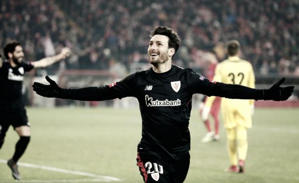 Aduriz celebra un gol anotado frente al Spartak | Foto: La Liga