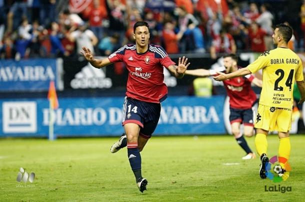 Maikel Mesa celebra el 2-1 ante el Girona. Fotografía: LFP.