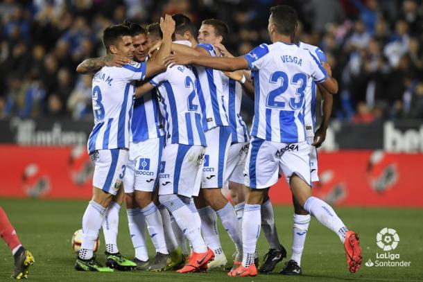 Los jugadores del Leganés celebrando su gol frente al Real Madrid | Foto: LaLiga Santander