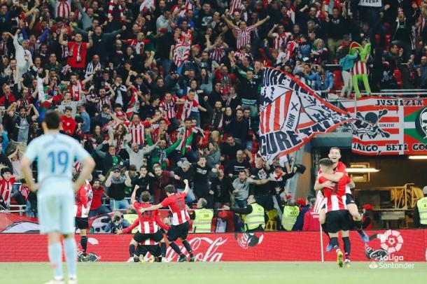 La afición bilbaína volvió a disfrutar de la victoria. Foto: La Liga.