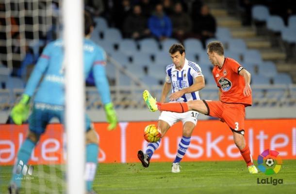 Xabi Prieto, en el encuentro ante el Deportivo de la Coruña