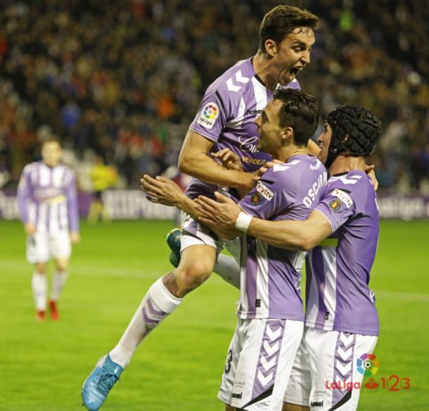 Celebración del gol de Óscar Plano ante el Huesca | LaLiga 1|2|3