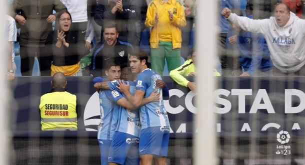 El Málaga celebrando un gol ante el Nàstic. | Foto: LaLiga